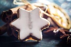 Blurred macro cookie star and dry orange Stock Photos