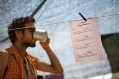 Blurred man drinking his coffee early in the morning Stock Photo