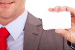 Blurred man holding business card Stock Images