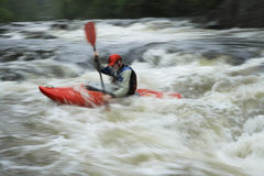 Blurred Man kayaking in river Royalty Free Stock Image