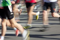Blurred Marathon Runners Stock Photo