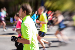 Blurred Marathon Runners Stock Images