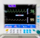 Blurred medical monitor. In ICU Stock Photography