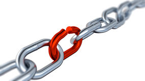 Blurred Metallic Chain with One Red Link Royalty Free Stock Photo