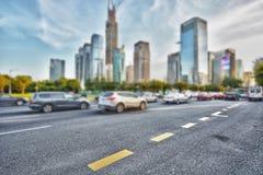 Blurred   modern skyline and road Stock Photo