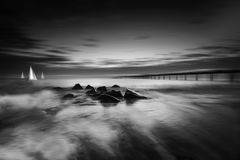 Blurred morning. In the Bourgas Bay of the Black Sea, Bulgaria Royalty Free Stock Photos