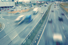 Blurred motion background top view of road Royalty Free Stock Photography