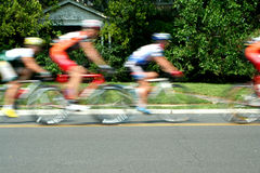 Blurred motion bicycle race Stock Images