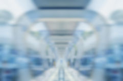 Blurred motion of footpath in modern business tower Stock Photo