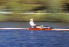 Blurred motion image of rower, Royalty Free Stock Images