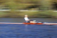 Blurred motion image of rower, Cambridge, Massachusetts Stock Image