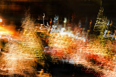 Blurred motion of lights at night Stock Photo