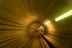 Blurred motion of metro tunnel in Copenhagen. Denmark royalty free stock photo