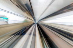 Blurred motion moving high speed train inside tunnel, Tokyo Japan Royalty Free Stock Photos