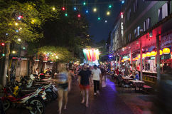 Blurred motion of people travel and walking Khaosan Road Royalty Free Stock Photography