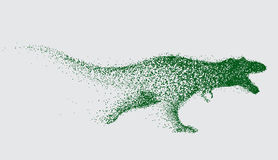 Blurred motion of tyrannosaur. Angry predator made by points.Vector animal Stock Photos