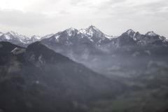 Blurred Mountain Panorama on Cloudy Day Royalty Free Stock Images