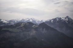 Blurred Mountain Panorama on Cloudy Day Stock Photography