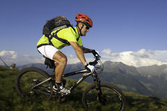 Blurred mountainbike downhill. Blurred maountainbiker in action on trail Royalty Free Stock Images