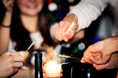 Blurred new year's sparklers royalty free stock photography