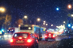 Blurred night background city traffic Stock Images