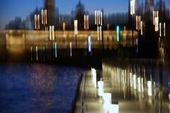 Blurred night city lights. Blue sky background. Royalty Free Stock Photos