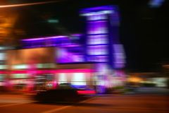 Blurred night colorful lights in Miami Beach Royalty Free Stock Images