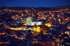 Blurred night Guanajuato Mexico scene stock image