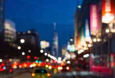 Blurred night lights of Manhattan street in New York City, NYC Royalty Free Stock Photography