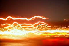 Blurred night red city lights moving Royalty Free Stock Images