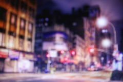Blurred night streets of New York Stock Image