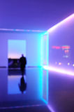 Blurred office lobby. Blurred office building lobby with purple light Stock Photos