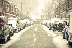 Blurred Out Street In Manchester England The Winter Storm Stock Image