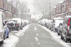Blurred Out Street In Manchester England The Winter Storm, Causing Flight Delays And Traffic Problems. Royalty Free Stock Photo