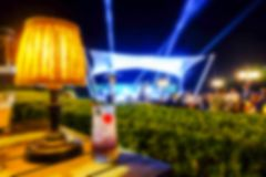 Blurred outdoor night club party for background.  Stock Image