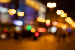 The blurred outlines of night city lights spheres with the urban landscape . The blurred outlines of night city lights spheres with the urban landscape at the royalty free stock images