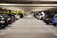 Blurred parkade. Blurred cars in a parkade Stock Photo