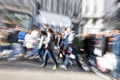 Blurred Pedestrian, Zoom Effect Royalty Free Stock Images