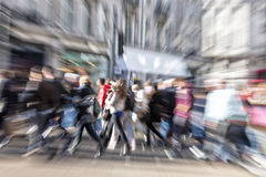 Blurred Pedestrian, Zoom Effect. A blurred pedestrian, zoom effect Royalty Free Stock Images
