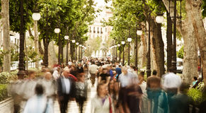 Blurred people. Blurred crowd in the street, high key Stock Photo