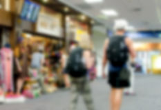 Blurred people at airport Royalty Free Stock Photos