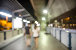 Blurred people on the BTS station in Bangkok Stock Images