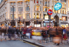 Blurred people Christmas Shopping at Oxford Circus, London. Stock Image