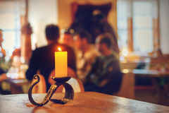 Blurred people at restaurant Stock Image