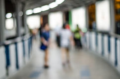 Blurred People on Sky Train Platform on the BTS station Royalty Free Stock Images