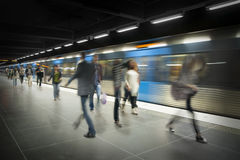 Blurred people on subway platform Royalty Free Stock Photography