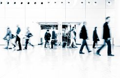 Blurred people at a trade fair hall Stock Photography