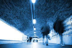 Blurred people on tunnel Stock Photos