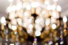 Blurred photo of abstraction, yellow spots. royalty free stock photography