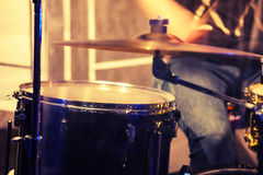 Blurred photo background, drummer on a stage Royalty Free Stock Image